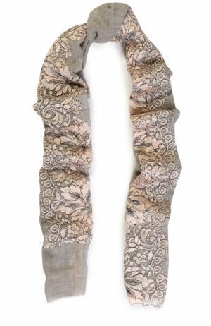 Кашемировый платок с кружевными вставками Vintage Shades. Цвет: светло-серый