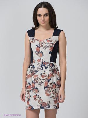 Платье BSB. Цвет: молочный, красный, темно-синий