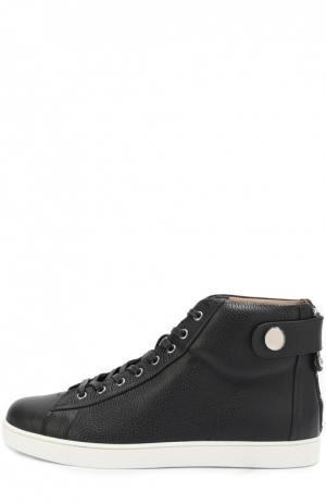 Высокие кожаные кеды на шнуровке с молнией Gianvito Rossi. Цвет: темно-синий