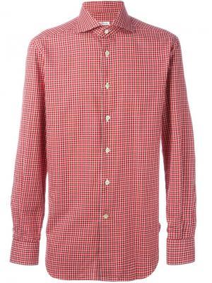 Рубашка в клетку Kiton. Цвет: красный