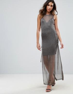 Wow Couture Вязаное платье кроше макси со шнуровкой и эффектом металлик Coutur. Цвет: черный