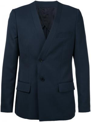 Пиджак без воротника Yoshio Kubo. Цвет: синий