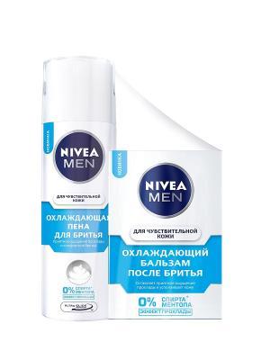Nivea Пена для бритья Охл. чувст. кожи 200мл+Бальзам после 100мл. Цвет: синий