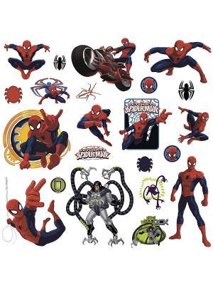 Наклейки для декора. Человек-паук ROOMMATES. Цвет: синий, красный, оранжевый, желтый, белый, зеленый, серый, голубой, черный