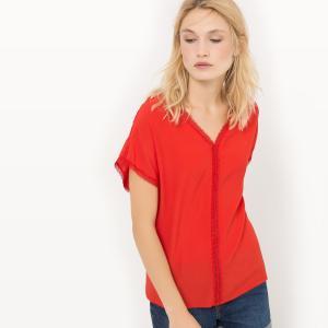 Блузка объемная с короткими рукавами SUD EXPRESS. Цвет: коралловый
