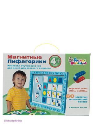 Магнитные пифагорики 4+ Десятое королевство. Цвет: голубой, красный, желтый, белый