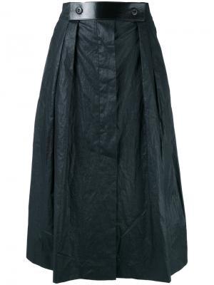 Юбка длины миди с кожаным поясом Outsource Images. Цвет: синий