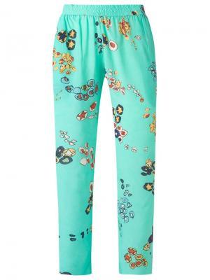 Шелковые брюки с принтом Isolda. Цвет: зелёный