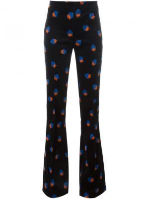 Расклешенные брюки с клубниками Victoria Beckham. Цвет: синий