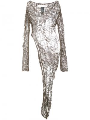 Open knit asymmetric dress Isabel Benenato. Цвет: коричневый