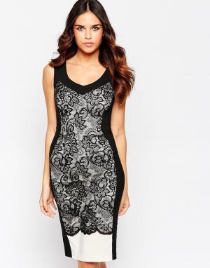 Hybrid Платье из фигурного кружева с V‑образным вырезом Hudson. Цвет: черный