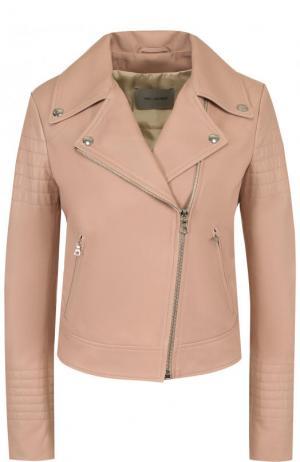 Приталенная кожаная куртка с косой молнией Yves Salomon. Цвет: светло-розовый