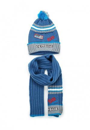 Комплект шапка и шарф Maxval. Цвет: синий