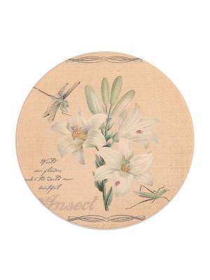 Подставка под горячую чашку ,круглая Лилия  DAVANA. Цвет: светло-зеленый, бежевый, белый