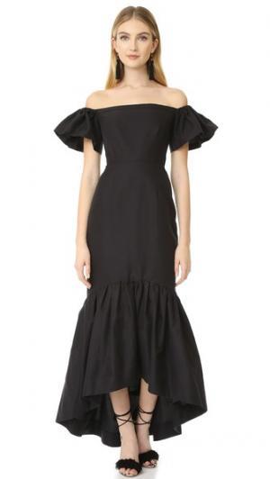 Платье с открытыми плечами и подолом «русалка» Jill Stuart. Цвет: голубой
