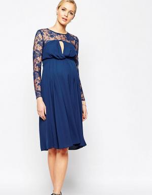 ASOS Maternity Платье миди для беременных с кружевными рукавами Kate. Цвет: темно-синий