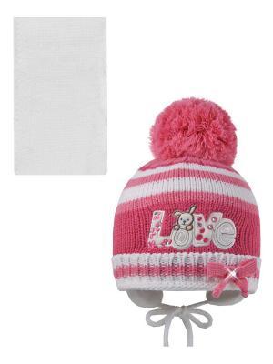 Шапка, шарф Pro-han. Цвет: белый, розовый