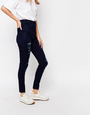 Waven Голубые облегающие джинсы с завышенной талией Anika. Цвет: синий
