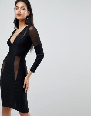 ASOS Бандажное платье миди с длинными рукавами, глубоким вырезом и сетчатым. Цвет: черный