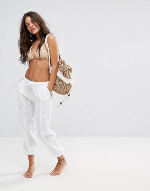 Seafolly Пляжные брюки из ткани добби. Цвет: белый
