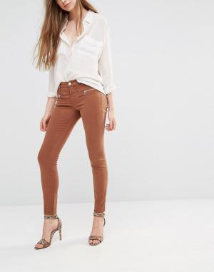 J Brand Зауженные брюки с молниями Miranda. Цвет: коричневый