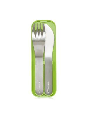 Набор из 3 столовых приборов в футляре MB Pocket зеленый Monbento. Цвет: зеленый