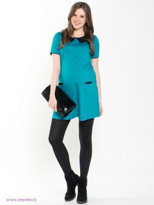 Платье для беременных 40 недель. Цвет: бирюзовый