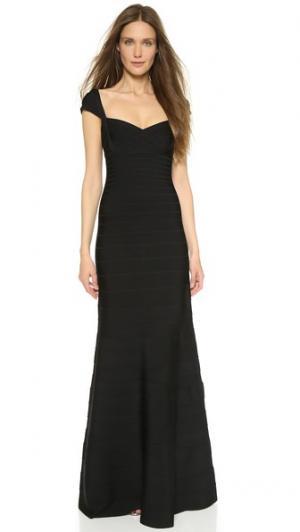 Вечернее платье Leila Herve Leger. Цвет: голубой