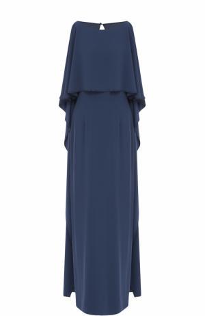 Платье-макси с оборками St. John. Цвет: синий