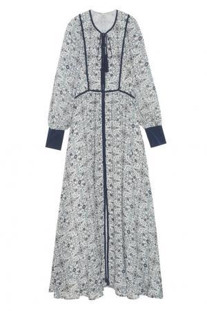 Шелковое платье Talitha. Цвет: синий, белый, разноцветный
