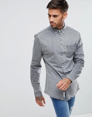 River Island Обтягивающая джинсовая рубашка серого цвета. Цвет: серый
