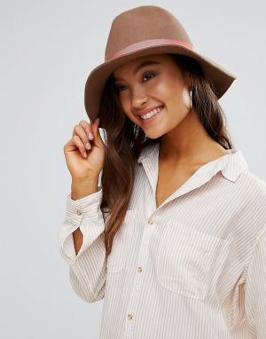 Eugenia Kim Фетровая шляпа с розовой отделкой Genie by Florence. Цвет: бежевый