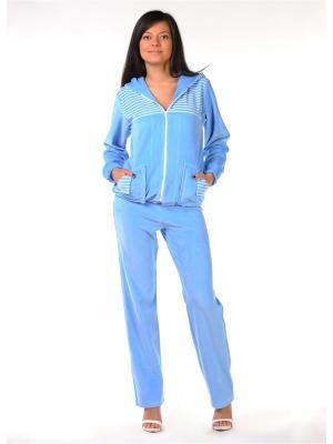 Велюровый костюм Тефия. Цвет: голубой, белый