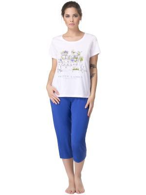 Комплект женский: футболка-бриджи PRIMAVERINA. Цвет: сиреневый, бежевый, розовый