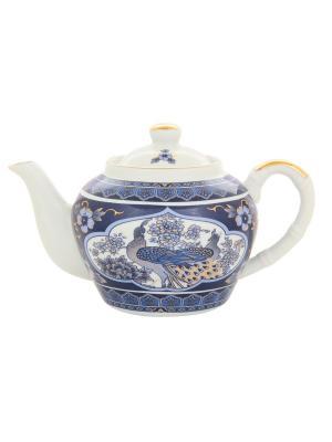 Чайник с металлическим ситом Павлин синий Elan Gallery. Цвет: белый, синий