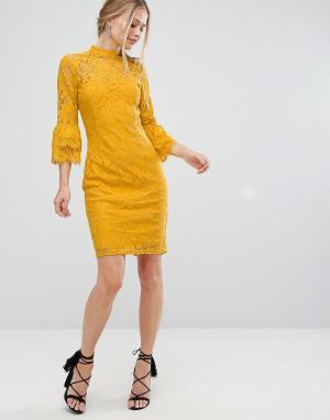 Paper Dolls Кружевное платье миди с высоким воротом и двойными оборками на рукавах. Цвет: желтый