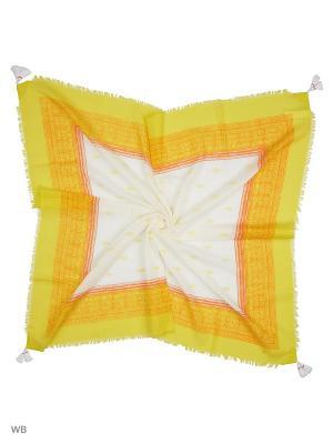 Платок United Colors of Benetton. Цвет: горчичный, белый