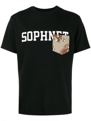 Футболка с нагрудным карманом и логотипом Sophnet.. Цвет: чёрный