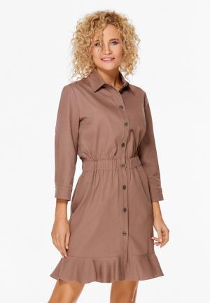 Платье SoloU. Цвет: бежевый
