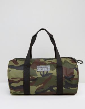 Systvm Парусиновая сумка дафл с камуфляжным принтом. Цвет: зеленый
