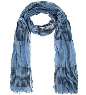 Хлопковый шарф в полоску Marc O'Polo. Цвет: синий