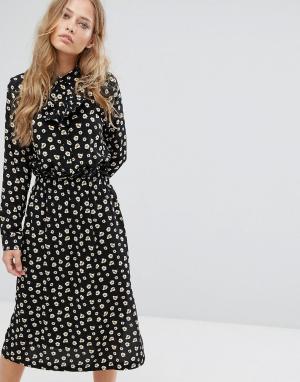 Suncoo Платье миди с принтом. Цвет: черный