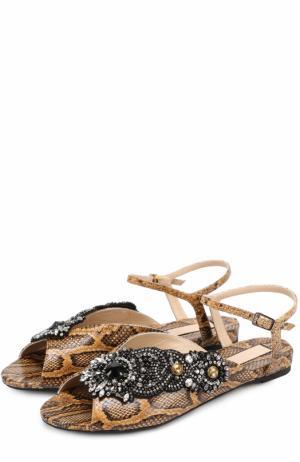 Кожаные сандалии с аппликацией No. 21. Цвет: коричневый