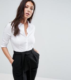ASOS Petite Рубашка из эластичного хлопка с длинными рукавами DESIGN f. Цвет: белый