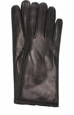 Кожаные перчатки с меховой подкладкой Sermoneta Gloves. Цвет: черный