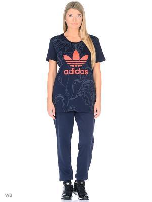 Футболка Adidas. Цвет: темно-синий