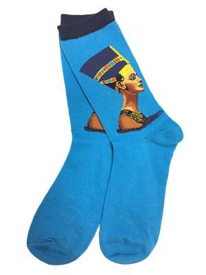 Носки ART-дизайн HOBBY LINE. Цвет: голубой, золотистый