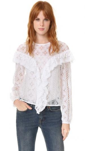 Кружевная блуза Mikayla Rodebjer. Цвет: белый