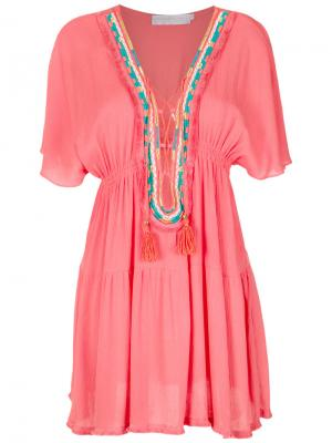 Embroidered beach dress Brigitte. Цвет: розовый и фиолетовый
