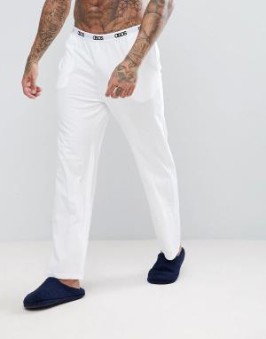 ASOS Трикотажные пижамные брюки с прямыми штанинами. Цвет: белый